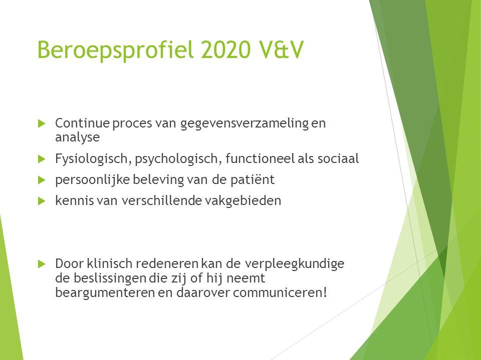 Beroepsprofiel 2020 V&V Continue proces van gegevensverzameling en analyse. Fysiologisch, psychologisch, functioneel als sociaal.