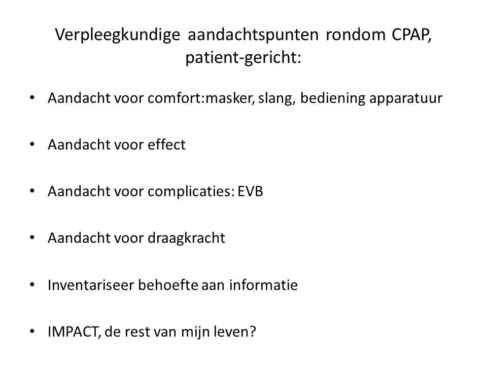 Verpleegkundige aandachtspunten rondom CPAP, patient-gericht: