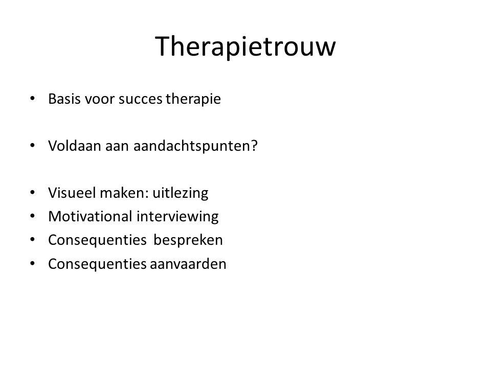 Therapietrouw Basis voor succes therapie Voldaan aan aandachtspunten