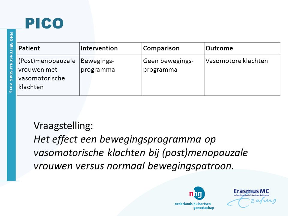 PICO Patient. Intervention. Comparison. Outcome. (Post)menopauzale vrouwen met vasomotorische klachten.