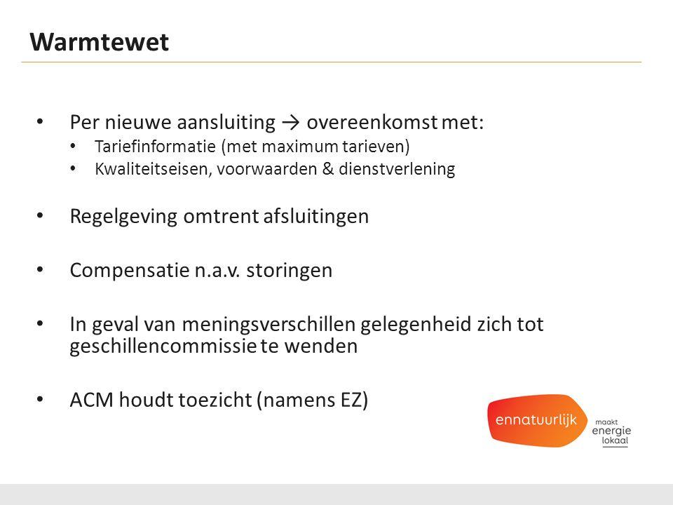 Warmtewet Per nieuwe aansluiting → overeenkomst met: