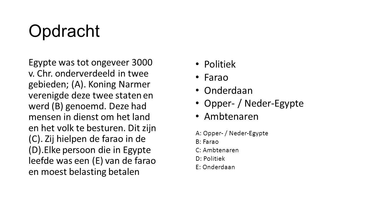 Opdracht Politiek Farao Onderdaan Opper- / Neder-Egypte Ambtenaren