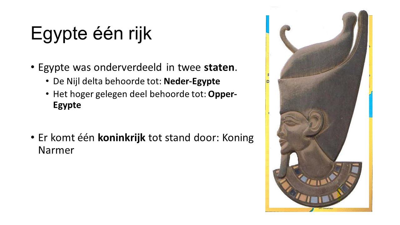 Egypte één rijk Egypte was onderverdeeld in twee staten.
