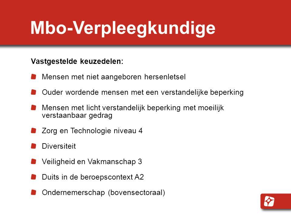 Mbo-Verpleegkundige Vastgestelde keuzedelen: