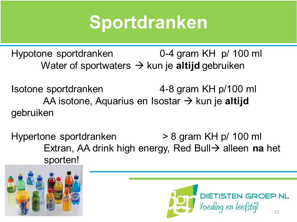 Sportdranken Hypotone sportdranken 0-4 gram KH p/ 100 ml