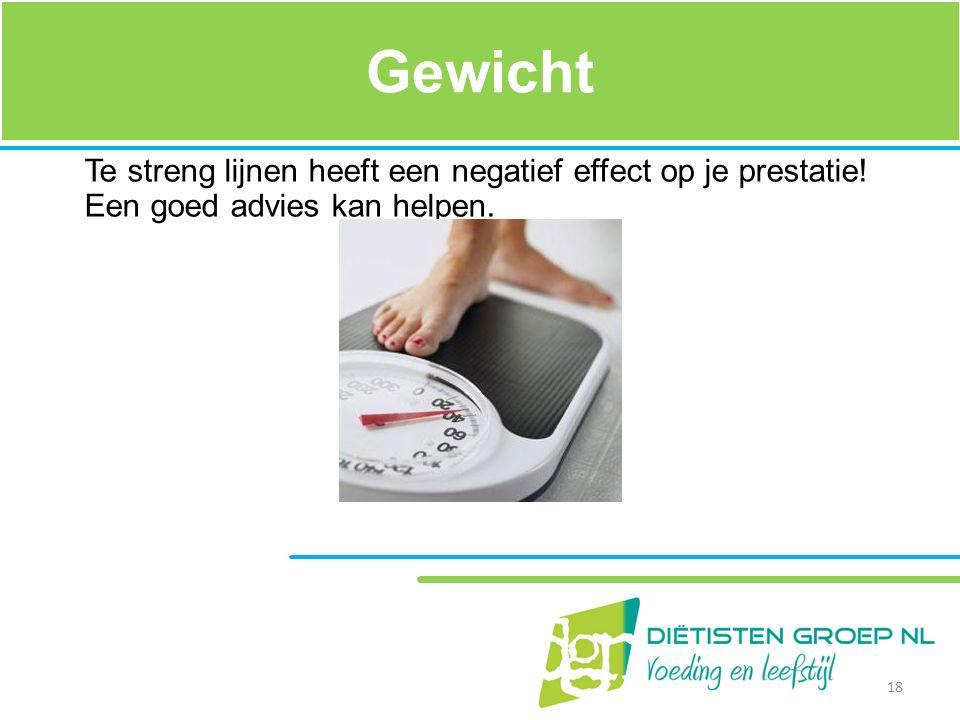 Gewicht Te streng lijnen heeft een negatief effect op je prestatie! Een goed advies kan helpen. Een gezonde BMI moet tussen de 20 en de 25 zitten.