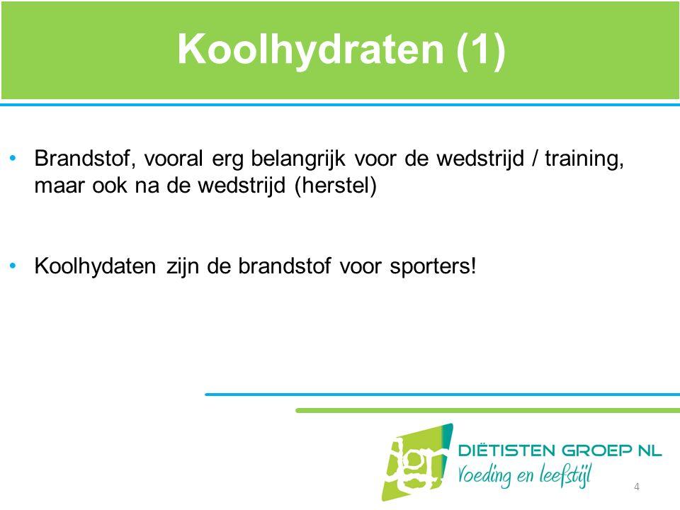 Koolhydraten (1) Brandstof, vooral erg belangrijk voor de wedstrijd / training, maar ook na de wedstrijd (herstel)