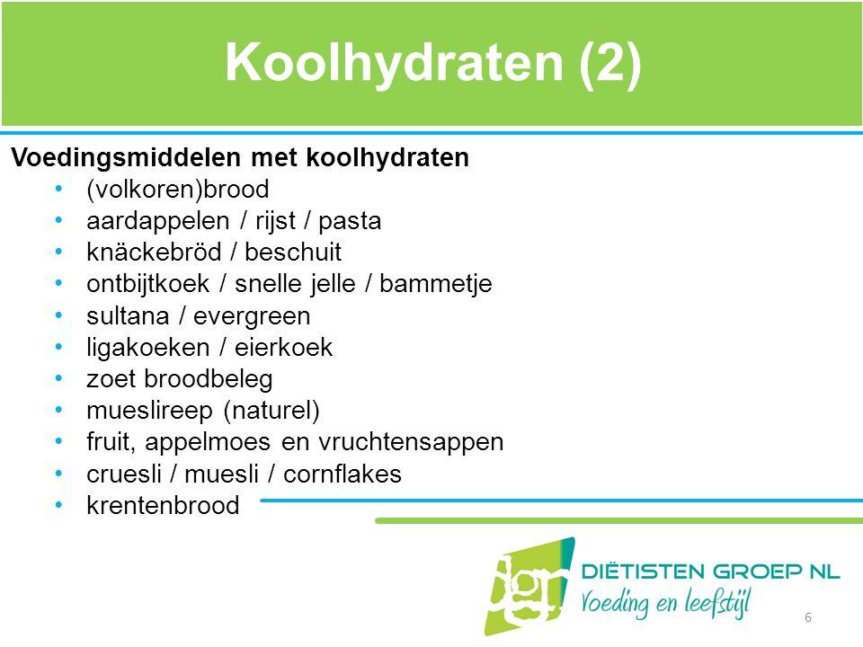 Koolhydraten (2) Voedingsmiddelen met koolhydraten (volkoren)brood
