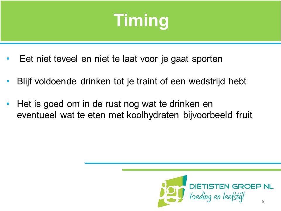 Timing Eet niet teveel en niet te laat voor je gaat sporten