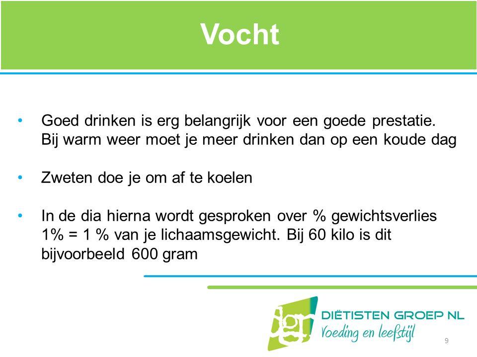 Vocht Goed drinken is erg belangrijk voor een goede prestatie. Bij warm weer moet je meer drinken dan op een koude dag.