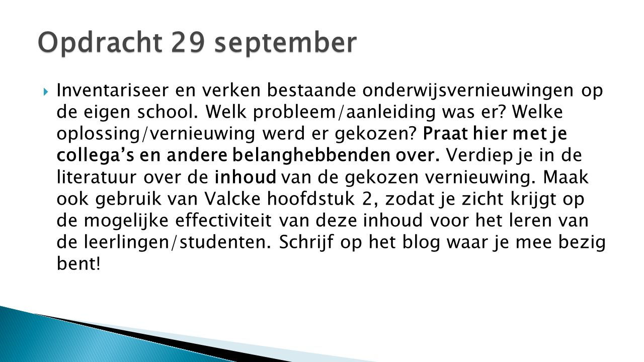 Opdracht 29 september