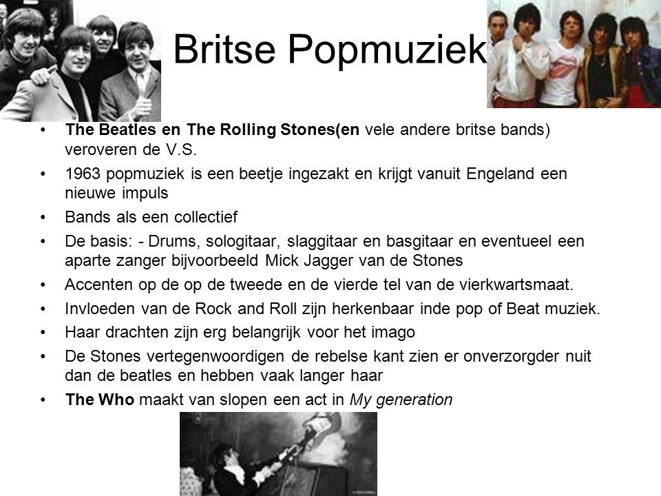 Britse Popmuziek The Beatles en The Rolling Stones(en vele andere britse bands) veroveren de V.S.