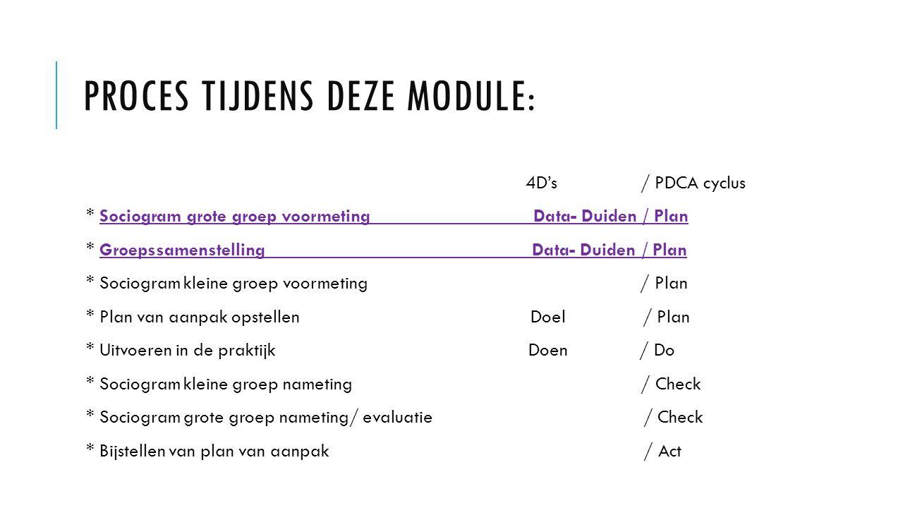 Proces tijdens deze module: