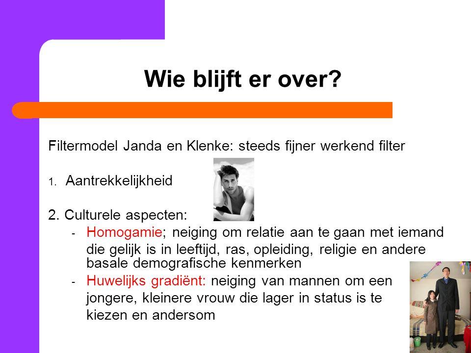 Wie blijft er over Filtermodel Janda en Klenke: steeds fijner werkend filter. Aantrekkelijkheid. 2. Culturele aspecten: