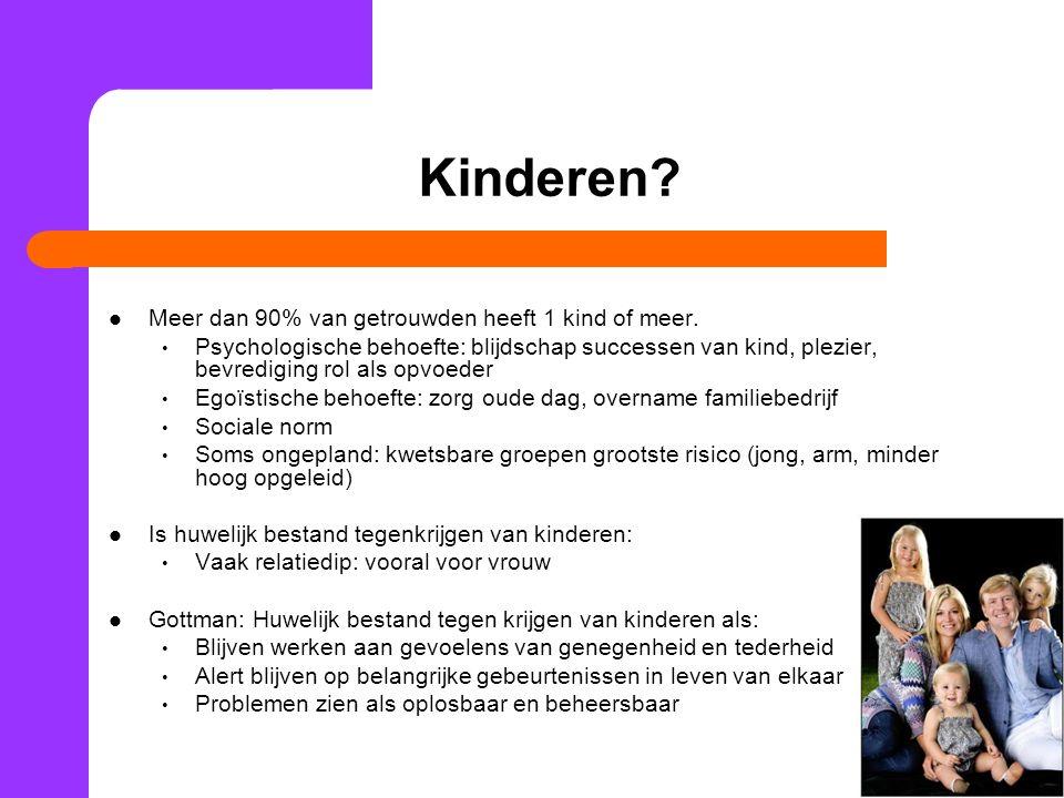 Kinderen Meer dan 90% van getrouwden heeft 1 kind of meer.