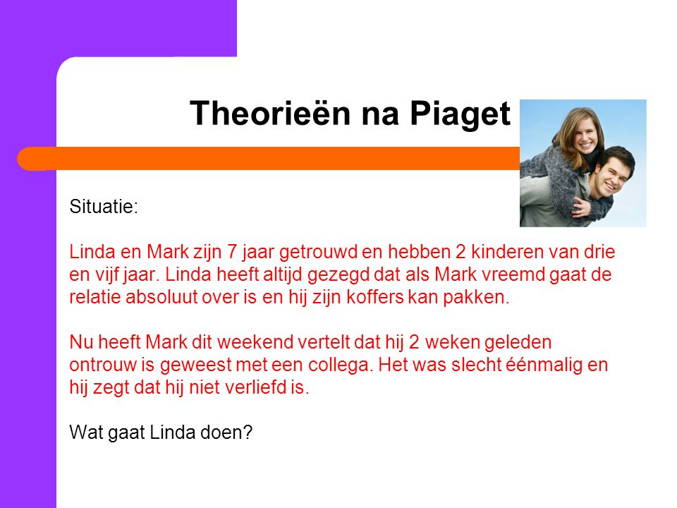 Theorieën na Piaget Situatie: