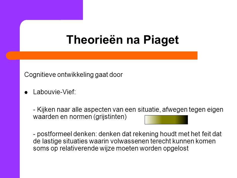 Theorieën na Piaget Cognitieve ontwikkeling gaat door Labouvie-Vief:
