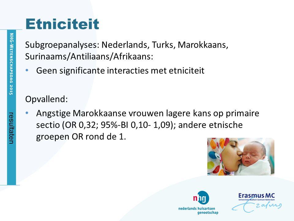 Etniciteit Subgroepanalyses: Nederlands, Turks, Marokkaans, Surinaams/Antiliaans/Afrikaans: Geen significante interacties met etniciteit.