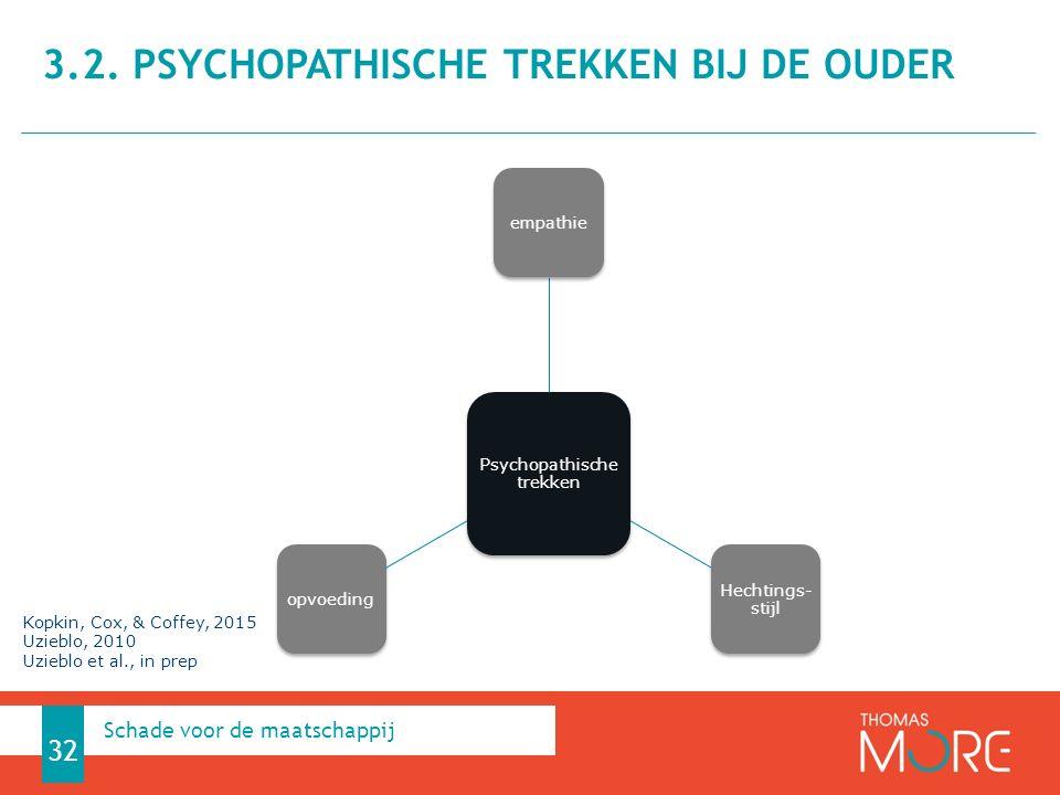 3.2. Psychopathische trekken bij de ouder