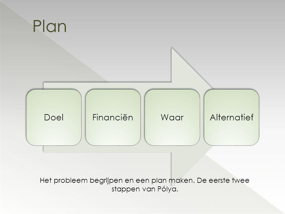 Plan Doel Financiën Waar Alternatief