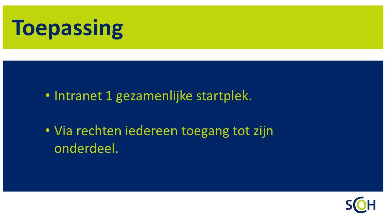 Toepassing Intranet 1 gezamenlijke startplek.