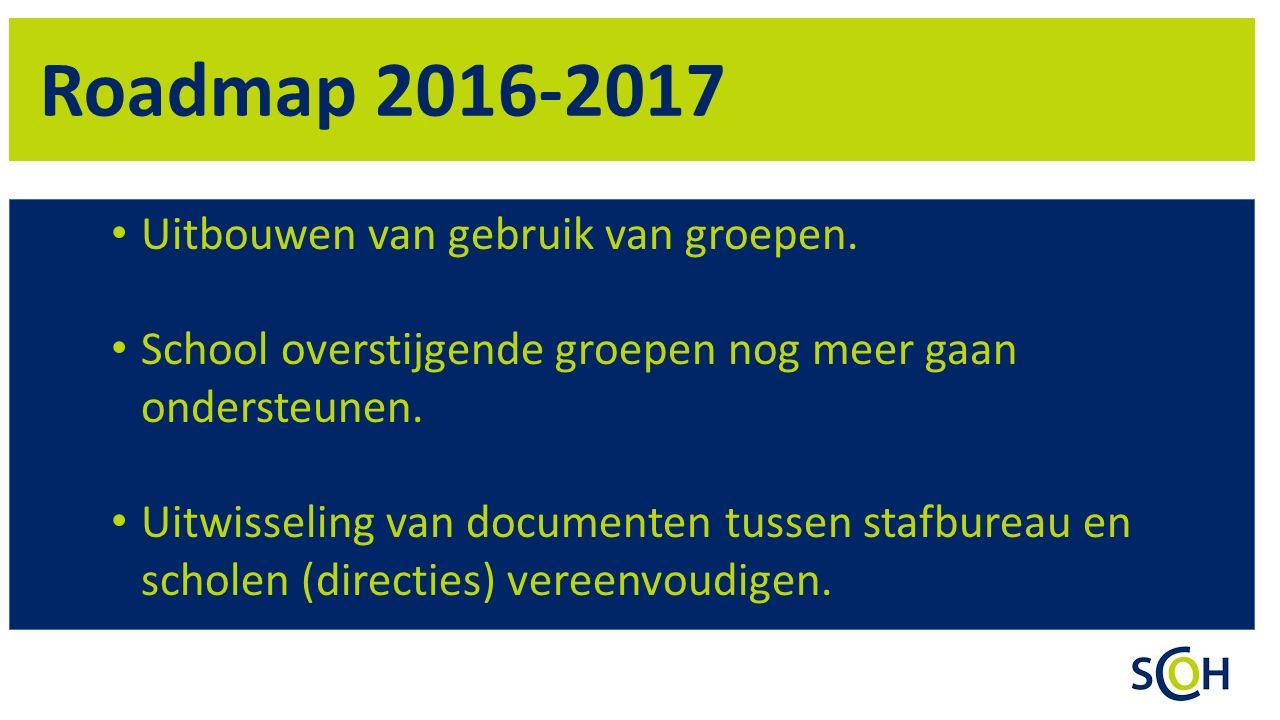 Roadmap 2016-2017 Uitbouwen van gebruik van groepen.