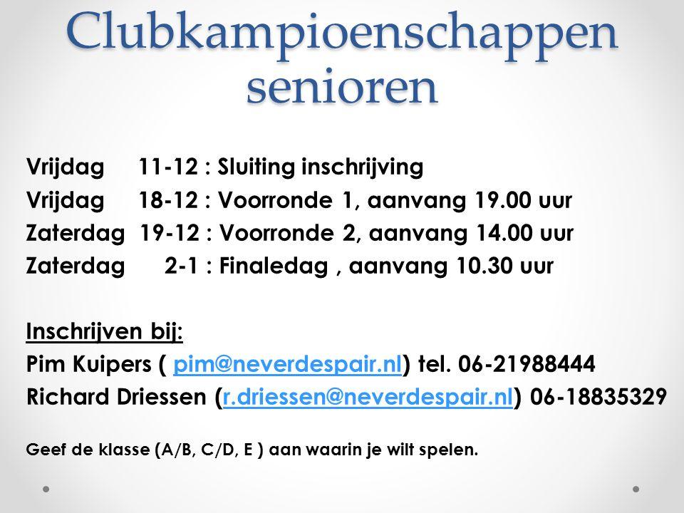 Clubkampioenschappen senioren