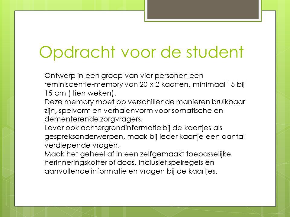 Opdracht voor de student