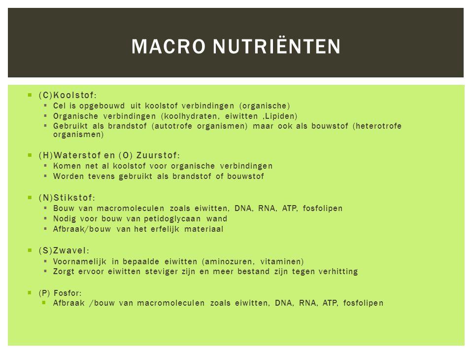 Macro nutriënten (C)Koolstof: (H)Waterstof en (O) Zuurstof: