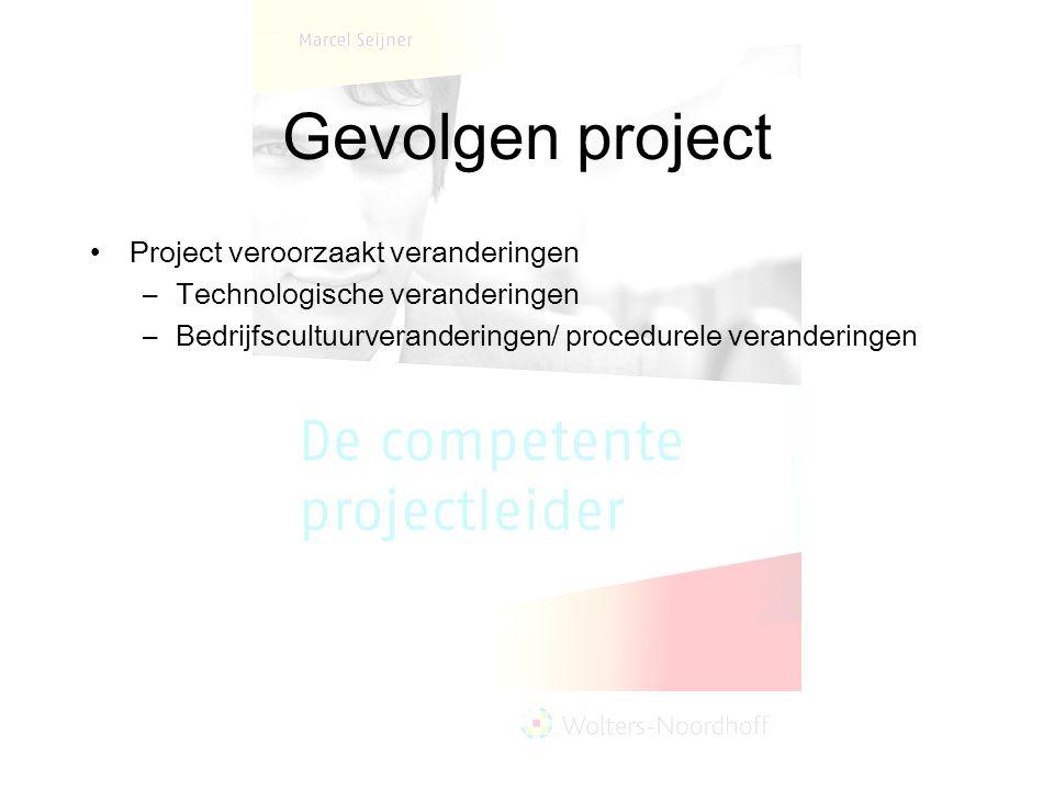 Gevolgen project Project veroorzaakt veranderingen