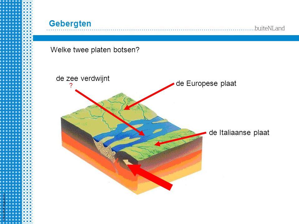 Gebergten Welke twee platen botsen de zee verdwijnt de Europese plaat