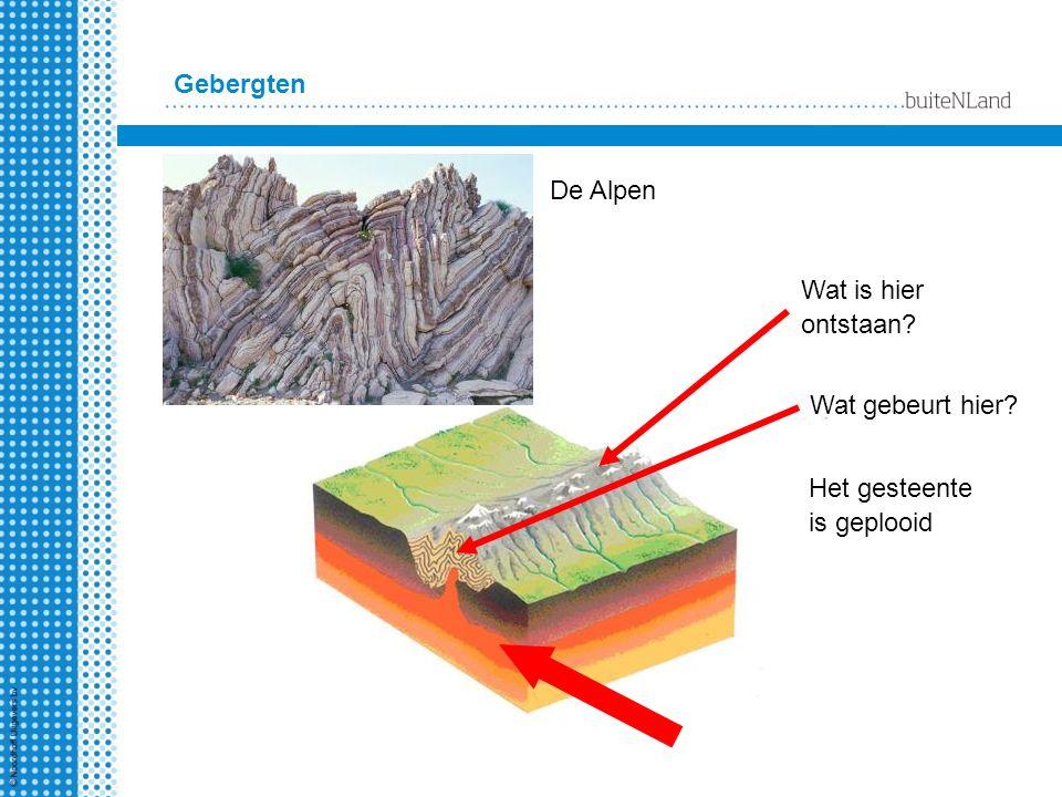 Gebergten De Alpen Wat is hier ontstaan Wat gebeurt hier Het gesteente is geplooid