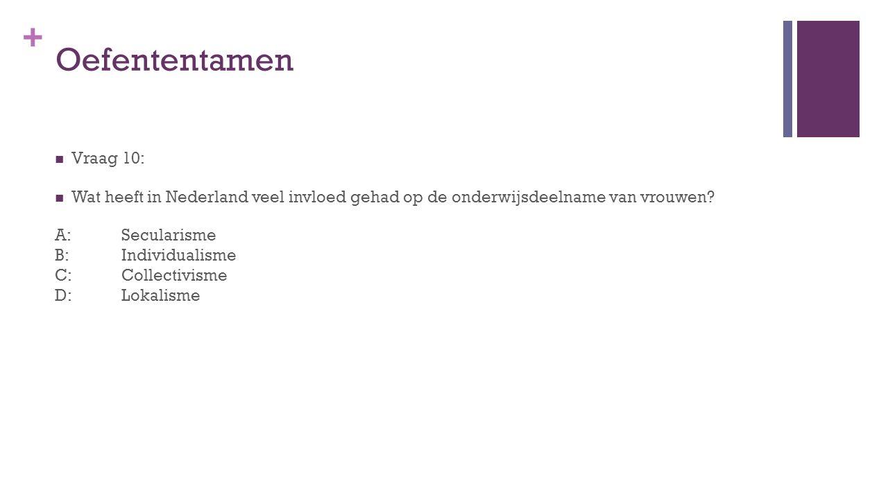 Oefententamen Vraag 10: Wat heeft in Nederland veel invloed gehad op de onderwijsdeelname van vrouwen
