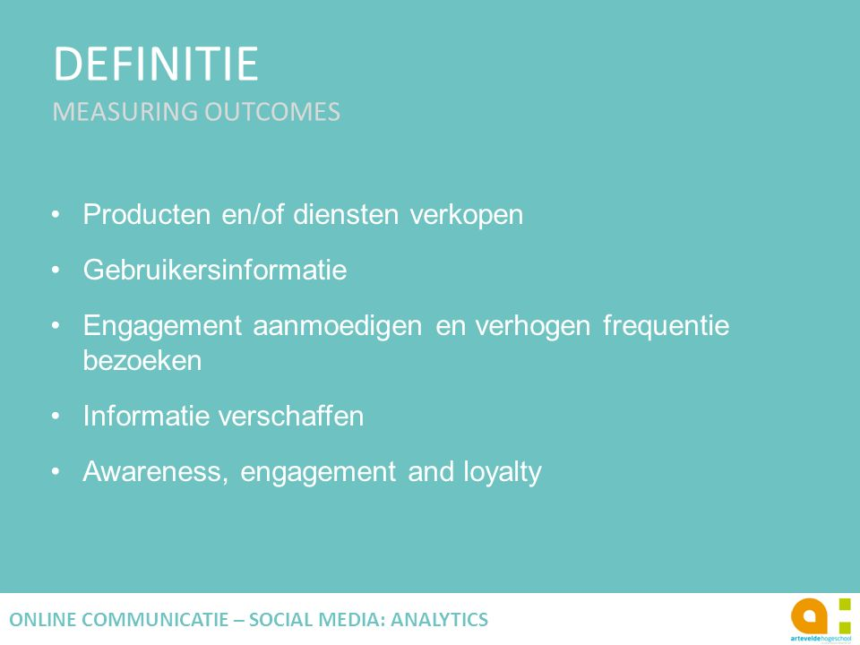 DEFINITIE MEASURING OUTCOMES