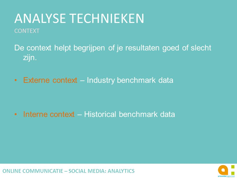 ANALYSE TECHNIEKEN CONTEXT
