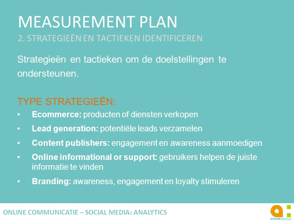 MEASUREMENT PLAN 2. STRATEGIEËN EN TACTIEKEN IDENTIFICEREN