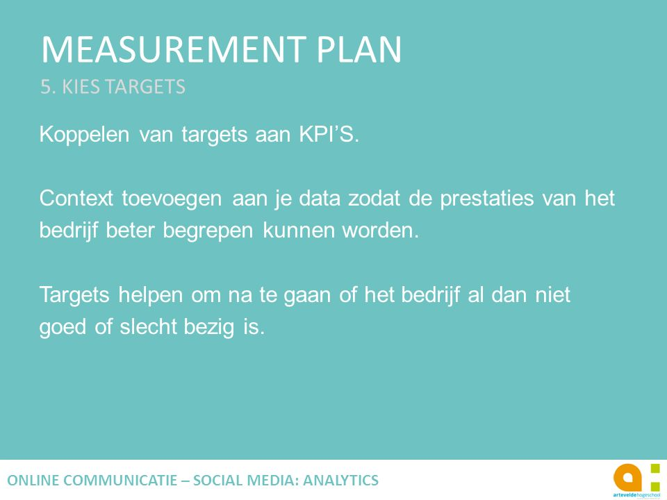 MEASUREMENT PLAN 5. KIES TARGETS