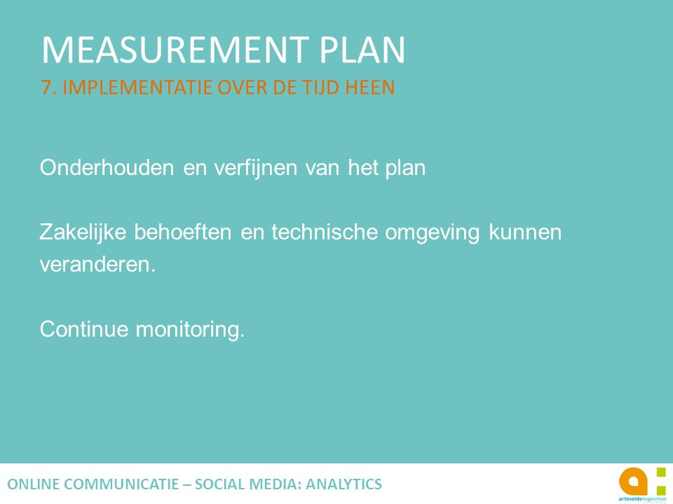 MEASUREMENT PLAN 7. IMPLEMENTATIE OVER DE TIJD HEEN