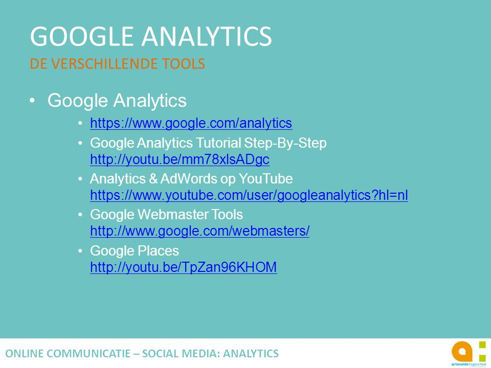 GOOGLE ANALYTICS DE VERSCHILLENDE TOOLS