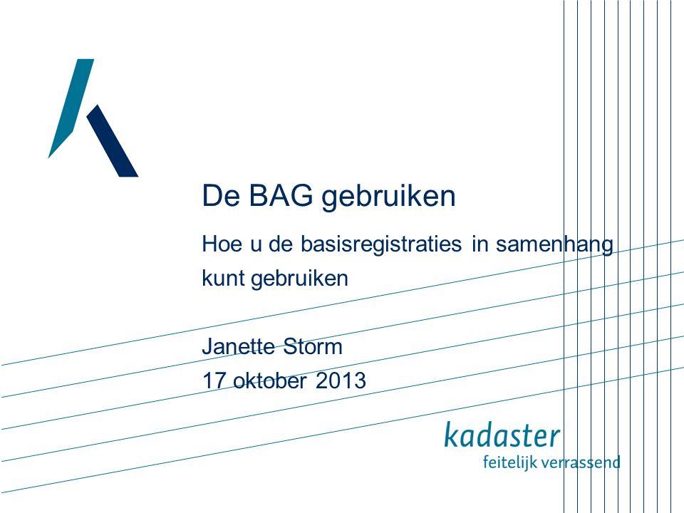 De BAG gebruiken Hoe u de basisregistraties in samenhang kunt gebruiken. Janette Storm. 17 oktober 2013.