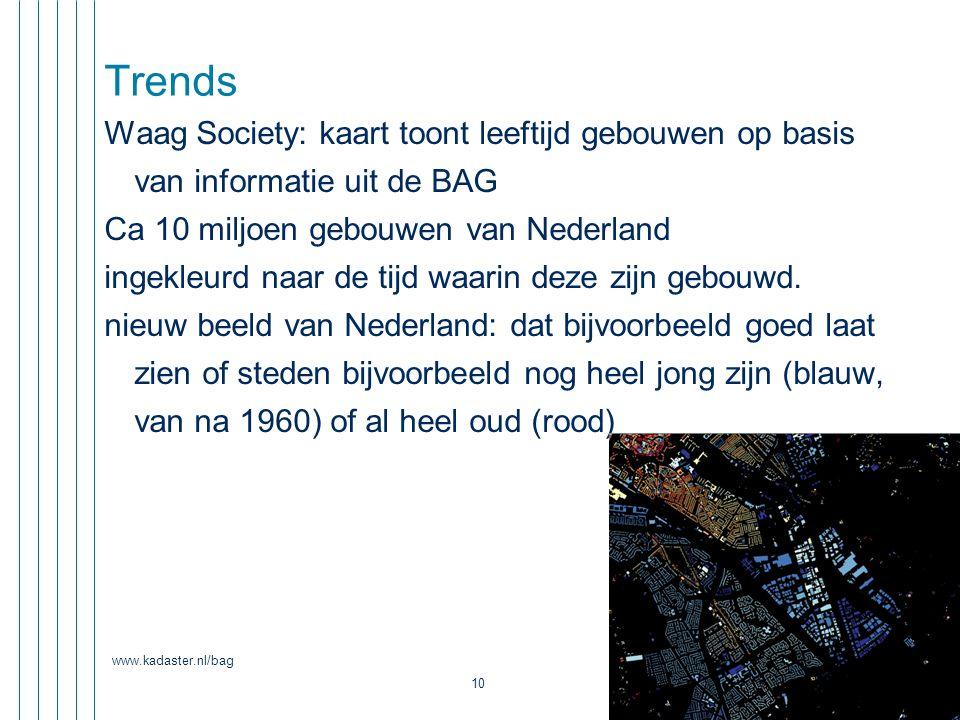 Trends Waag Society: kaart toont leeftijd gebouwen op basis van informatie uit de BAG. Ca 10 miljoen gebouwen van Nederland.