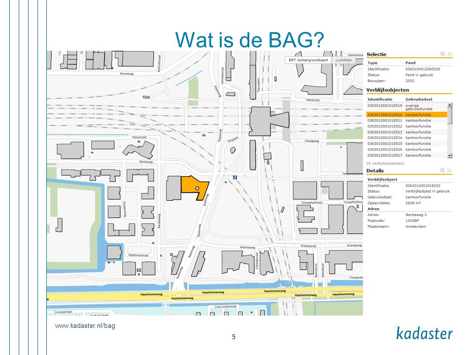 Wat is de BAG www.kadaster.nl/bag 5
