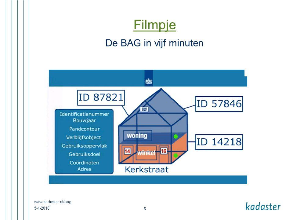 Filmpje De BAG in vijf minuten www.kadaster.nl/bag 26-4-2017 6
