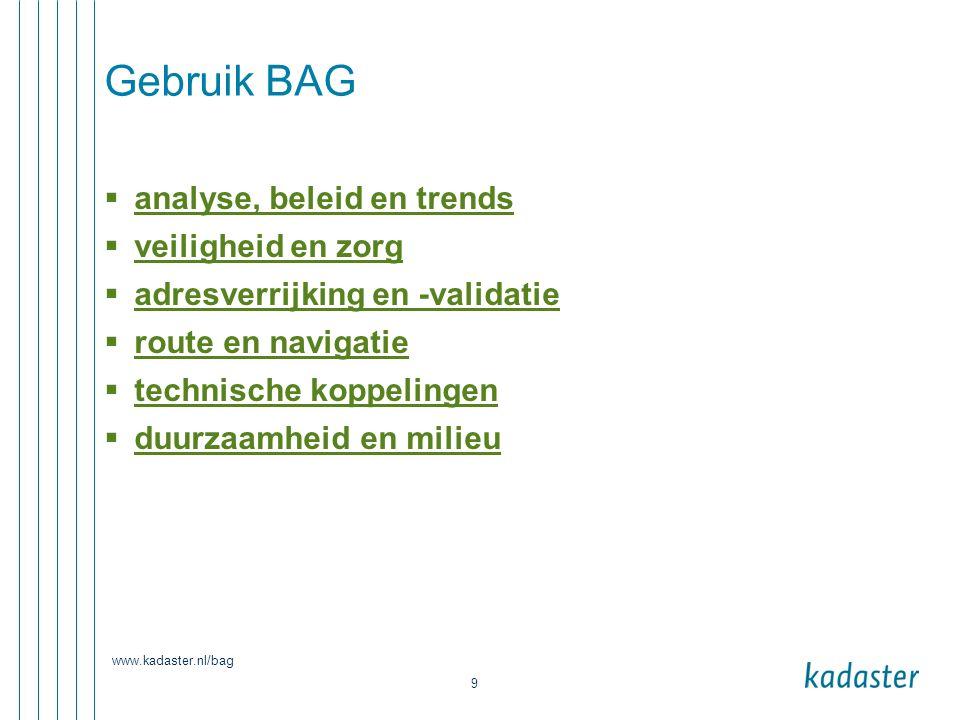 Gebruik BAG analyse, beleid en trends veiligheid en zorg