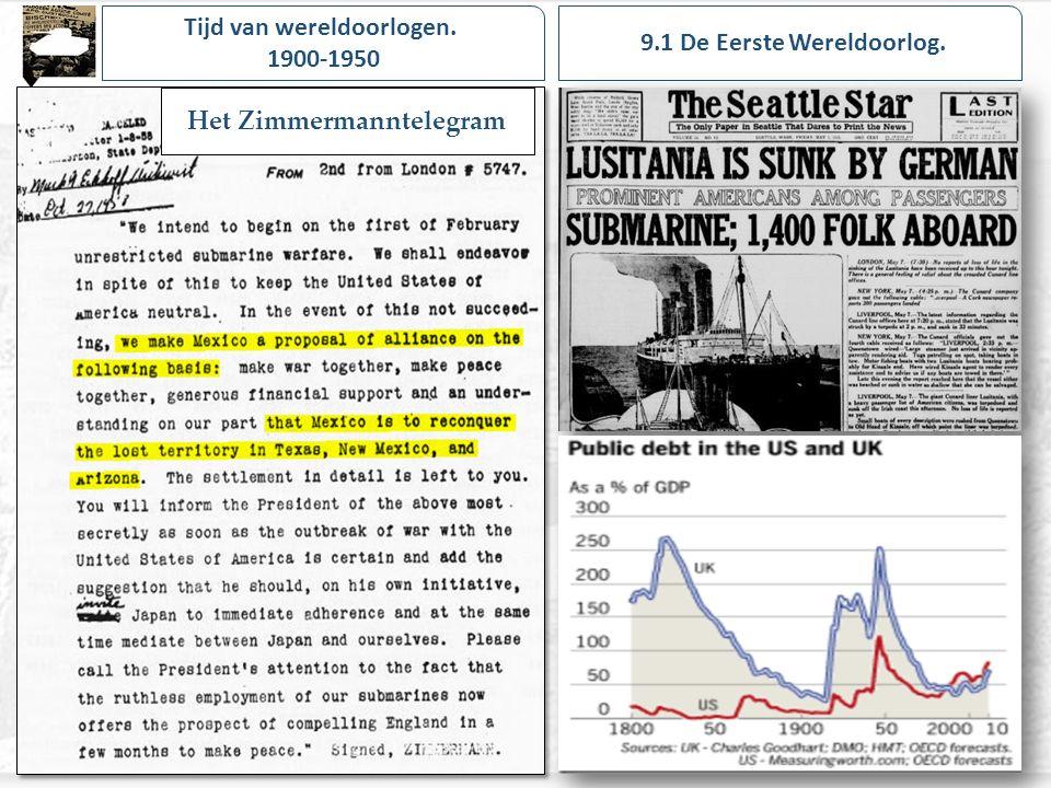 Tijd van wereldoorlogen. 1900-1950 9.1 De Eerste Wereldoorlog.