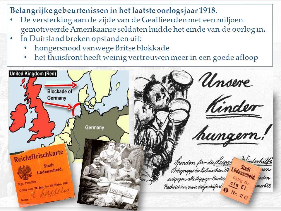 Belangrijke gebeurtenissen in het laatste oorlogsjaar 1918.
