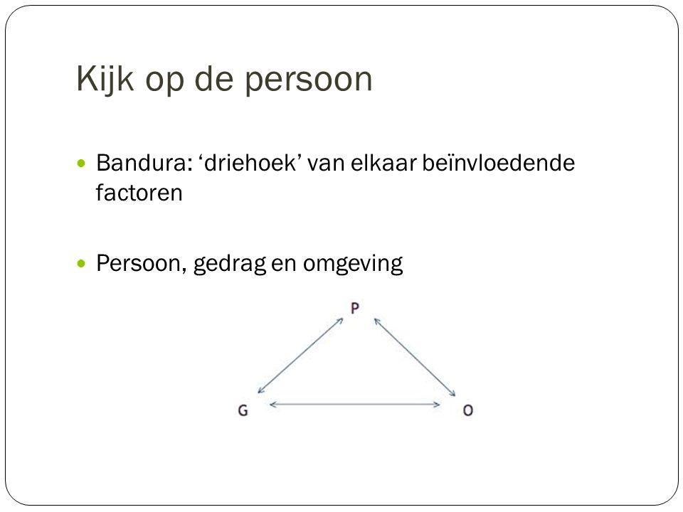 Kijk op de persoon Bandura: 'driehoek' van elkaar beïnvloedende factoren. Persoon, gedrag en omgeving.