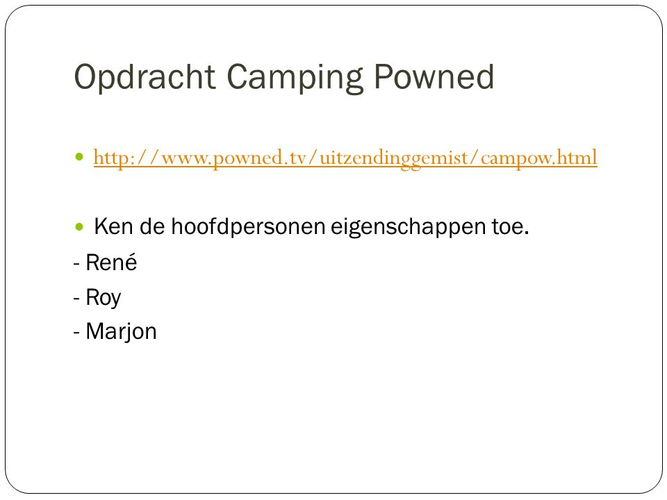 Opdracht Camping Powned