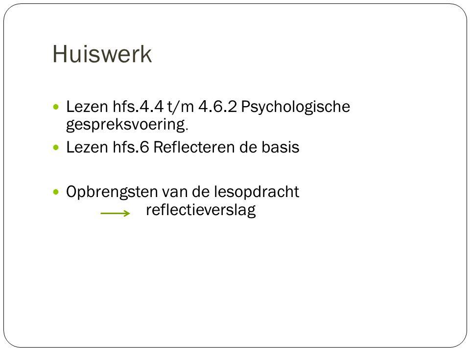 Huiswerk Lezen hfs.4.4 t/m 4.6.2 Psychologische gespreksvoering.
