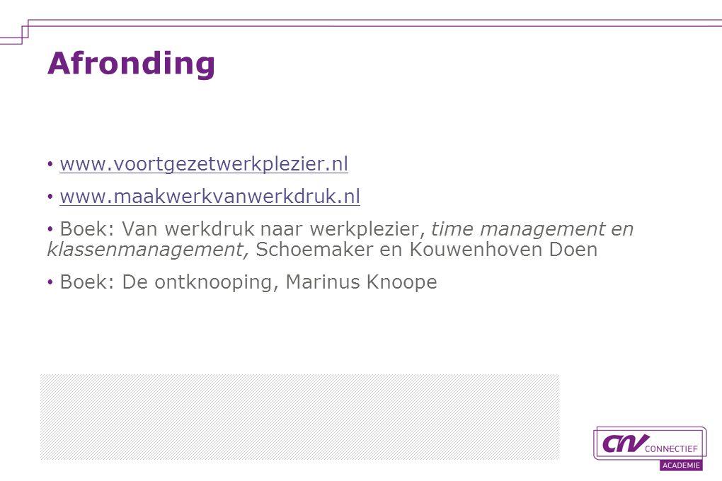 Afronding www.voortgezetwerkplezier.nl www.maakwerkvanwerkdruk.nl
